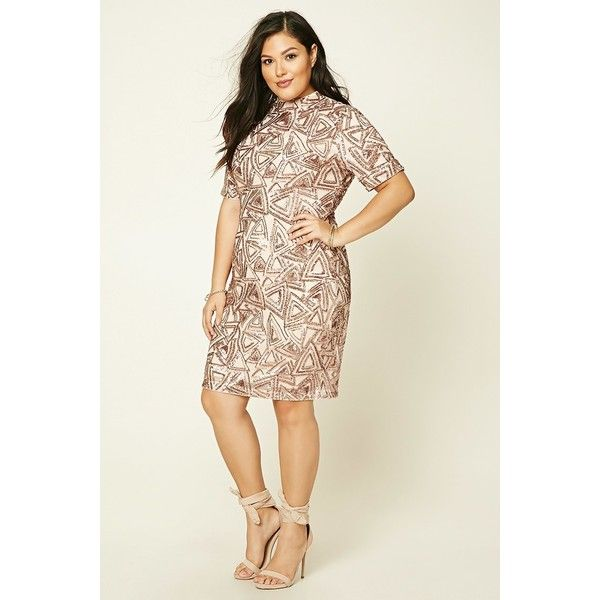 Forever21 Plus Size Sequined Mini Dress ($40) ❤ liked on Polyvore featuring dresses, short sequin dress, short white dresses, short-sleeve maxi dresses, plus size white cocktail dress and plus size sequin dress