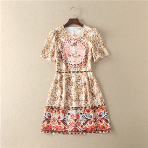 >> Click to Buy << summer 2017 runway womens fashion vintage jacquard king printed 3d crystal printing brand dress apricot online shop clothing 20s #Affiliate