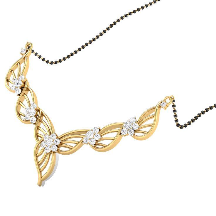 Interlaced Leaf Diamond Mangalsutra