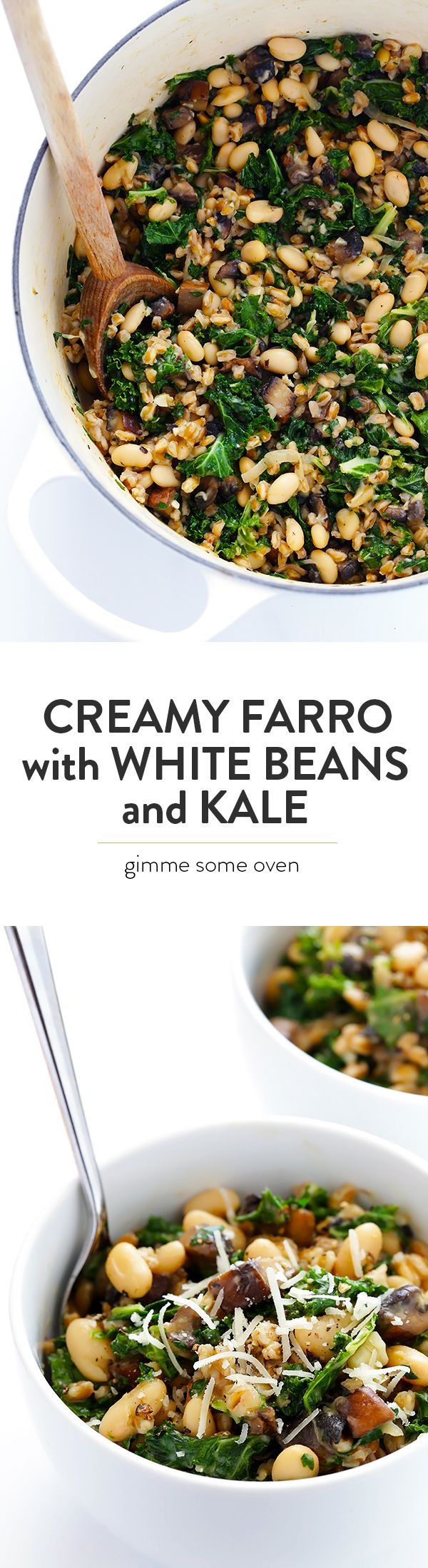 Creamy Farro with White Beans and Kale -- easy to make, nice and hearty, and totally delicious   gimmesomeoven.com