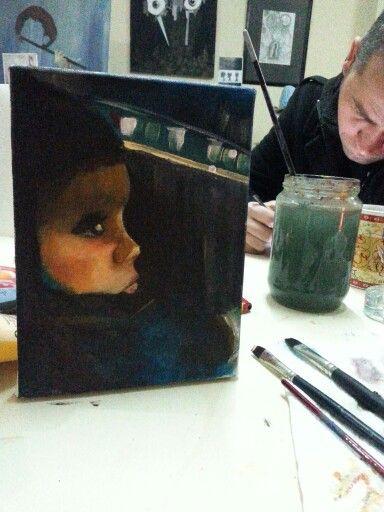 Painting children oilpainting art akrilik
