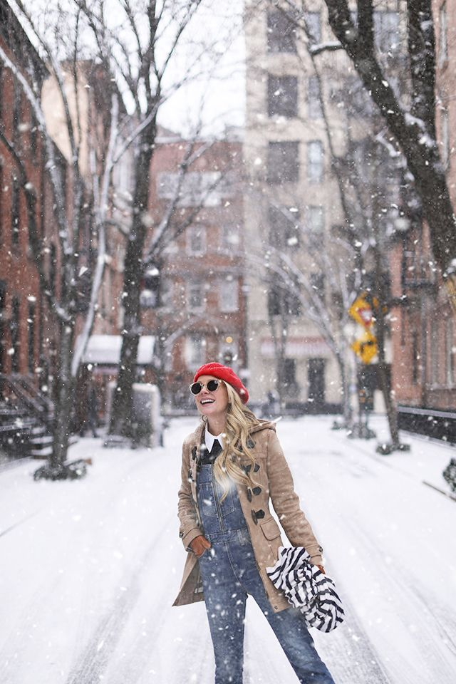 A new york city snow day! Atlantic Pacific // Blair Eadie in the West Village (Overalls, Stripe Scarf, Beret) Winter Outfit Ideas #winter #snowoutfit #snowday