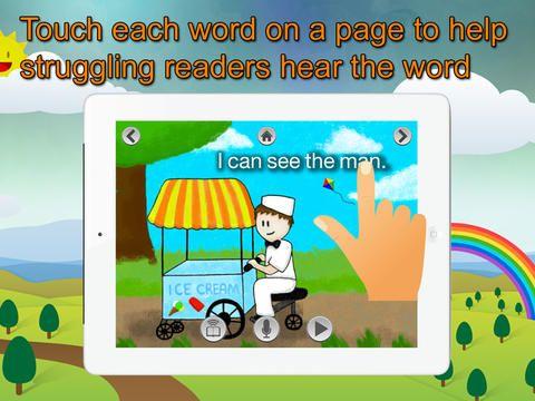 Super readers til begynderlæsningen. Man læser små historier i forskellige sværhedsgrader. Oplæsning ved hjælp af highlight eller optage sin egen stemme, mens man læser. Appen koster 25 kr.