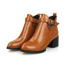Mujeres boot 2015 invierno botines de tacón alto pies en punta calidad moda moto cómodas negro marrón para mujer zapato(China (Mainland)):