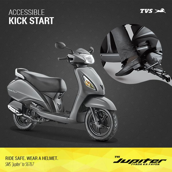 Start your bike with ease with the ideally located Kick Start on the TVS Jupiter.