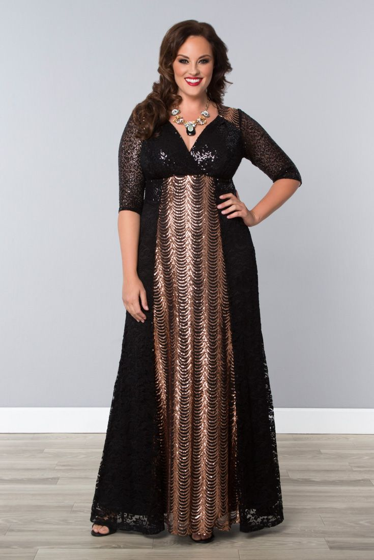 Take your formal wear to the max in our plus size Grand Gatsby Gown.  Designed with sequins throughout, you'll shimmer and shine all night in style!  Browse our entire made in the USA collection online at www.kiyonna.com.  #KiyonnaPlusYou