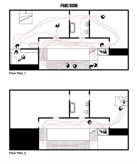 Cinema e Arquitetura: As plantas dos grandes clássicos do Cinema, Quarto do Pânico, questão 1.  Imagem Cortesia de Interiors Journal Leia os nossos posts dedicados aos Clássicos do Cinema em http://mundodecinema.com/category/classicos-do-cinema/
