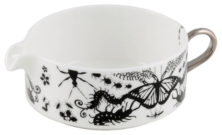 'Entomo' Black Creamer with Creepy Crawlies. An addition to the range which presents an array of some of the most important yet often misunderstood creatures on our planet. From gossamer wings of the butterfly to the architectural magnificence of the stag beetle, together a pattern of wonderment and delight. Designed by Monica Tsang. Handwash Only. Hand gilded platinum handle. Available in Black and Platinum. Made in Stoke-on-Trent, England. Fine Bone China. Find out more here…