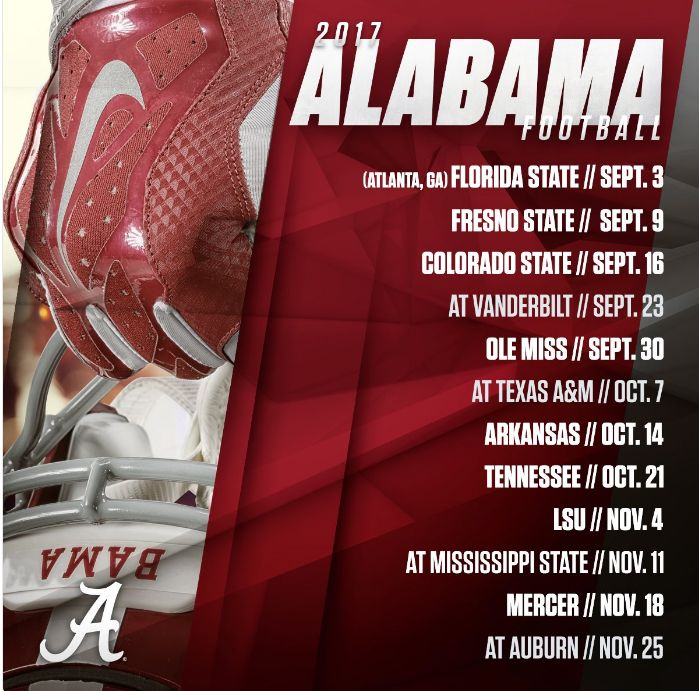 The 2017 Alabama football schedule was finalized Tuesday and includes seven games at Bryant-Denny Stadium plus a neutral-site game against Florida State and four Southeastern Conference road games.