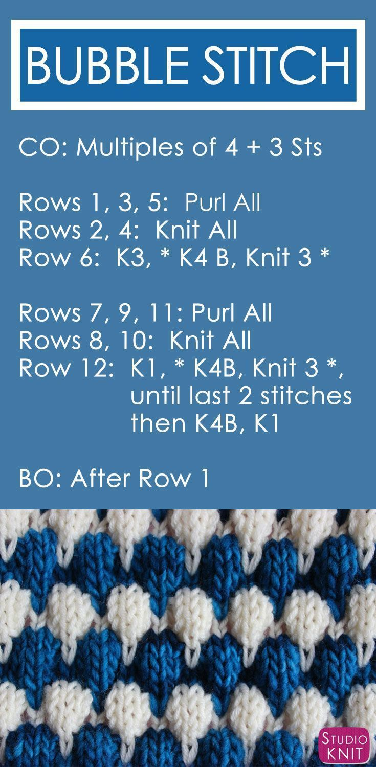 Bubble Knit Stitch Pattern with Easy Free Pattern + Knitting Video Tutorial by Studio Knit. #StudioKnit