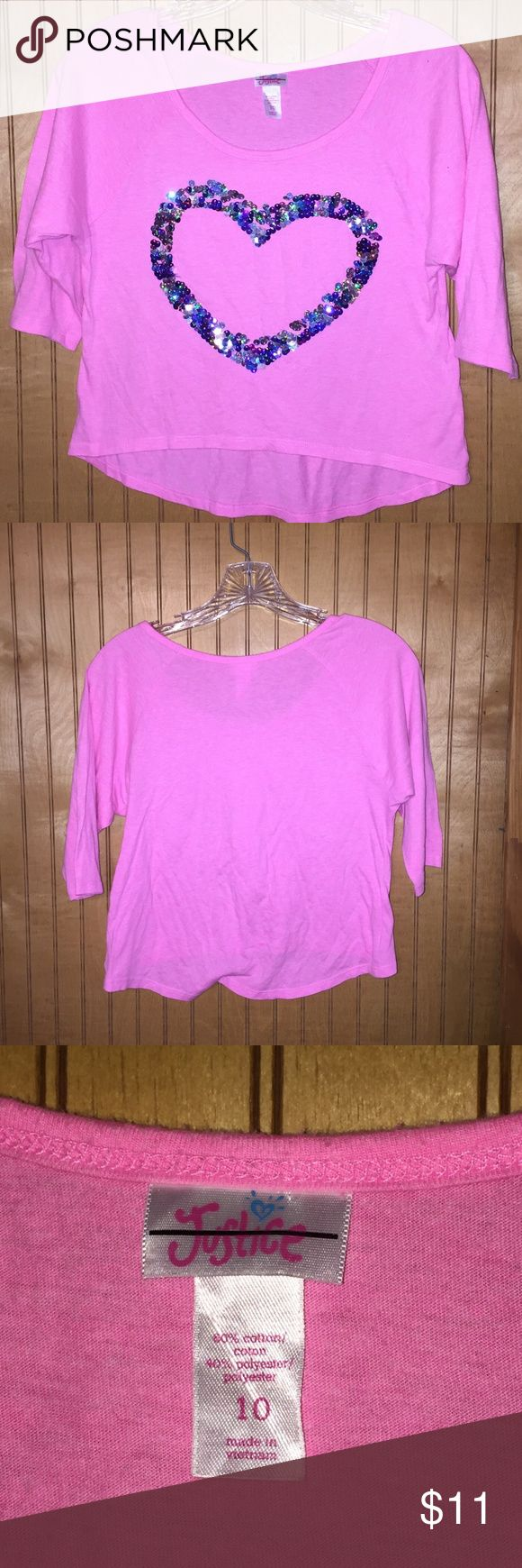 Justice Pink Bling Heart Shirt Size 10 Justice Pink Heart Bling Shirt Tween Size 10 Flowing 3/4 Length Sleeves Justice Tops Tunics
