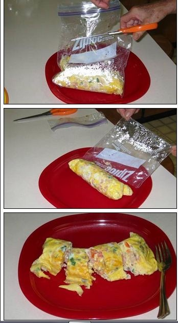 ZIPLOC OMELETTE! I need to remember about this little wonder.  Bring a large pot of water to boil. Meanwhile, take 2 eggs + any add-ins you like (bacon, onions, peppers, etc!) and place in ziploc bag. Shake gently to combine. Zeal bag and remove air -- place in rolling, boiling water for EXACTLY 13 minutes. Cut bag and omelette will roll out. Super easy! Can make 6-8 in one pot at a time! Genius!