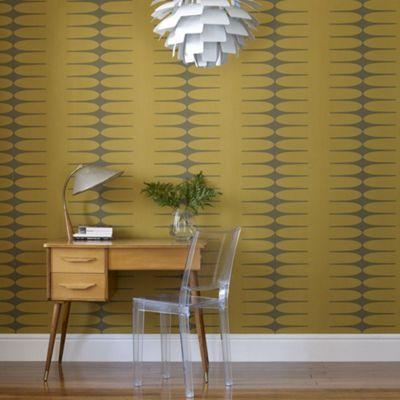 Hemmingway Designs Mustard Do The Stretch Wallpaper- at Debenhams.com