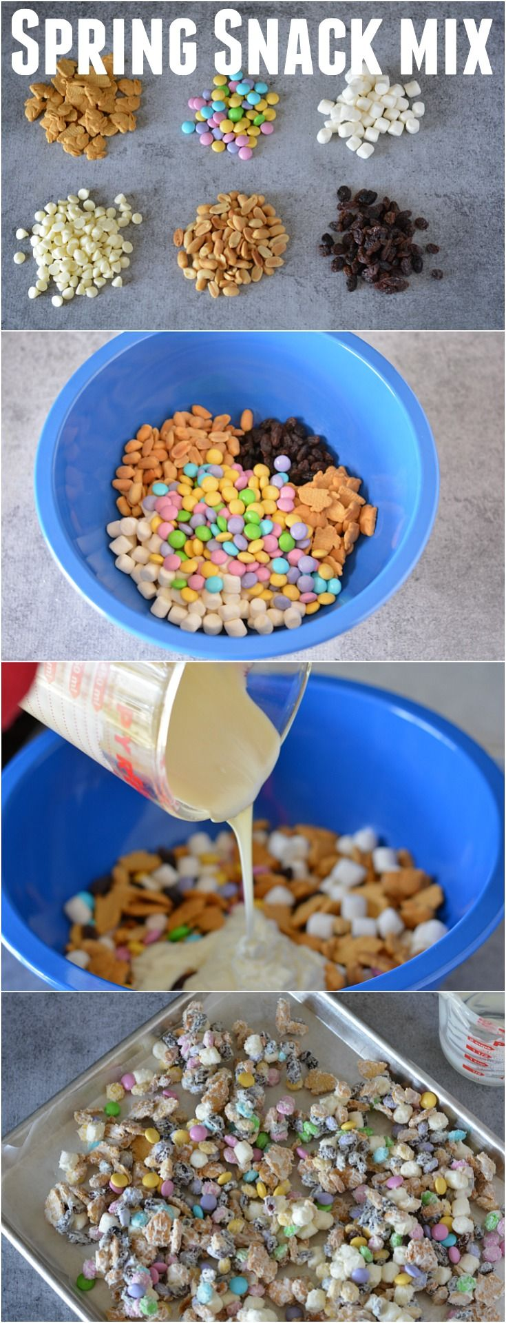 Whip up this Spring Snack Mix in minutes! Add it to bags with the FREE Printables for a quick and easy gift! Make a batch of Bunny Bait for Easter or take to a party!