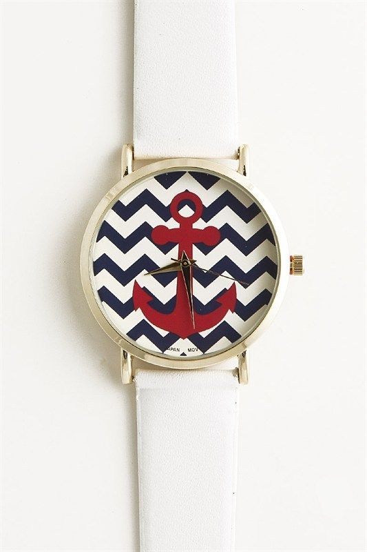 Piace Boutique - Chevron Anchor Watch (White), $22.99 (http://www.piaceboutique.com/chevron-anchor-watch-white/)