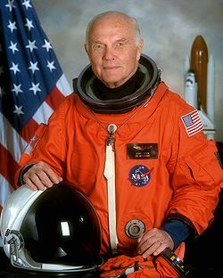 John Glenn received a Congressional Space Medal of Honor in 1978. He was inducted into the Astronaut Hall of Fame in 1990. On October 29, 1998, he became the oldest person to fly in space, and the only one to fly in both the Mercury and Space Shuttle programs, when at age 77, he flew on Discovery (STS-95). As of 2012, Glenn and M. Scott Carpenter are the last living members of the Mercury Seven.