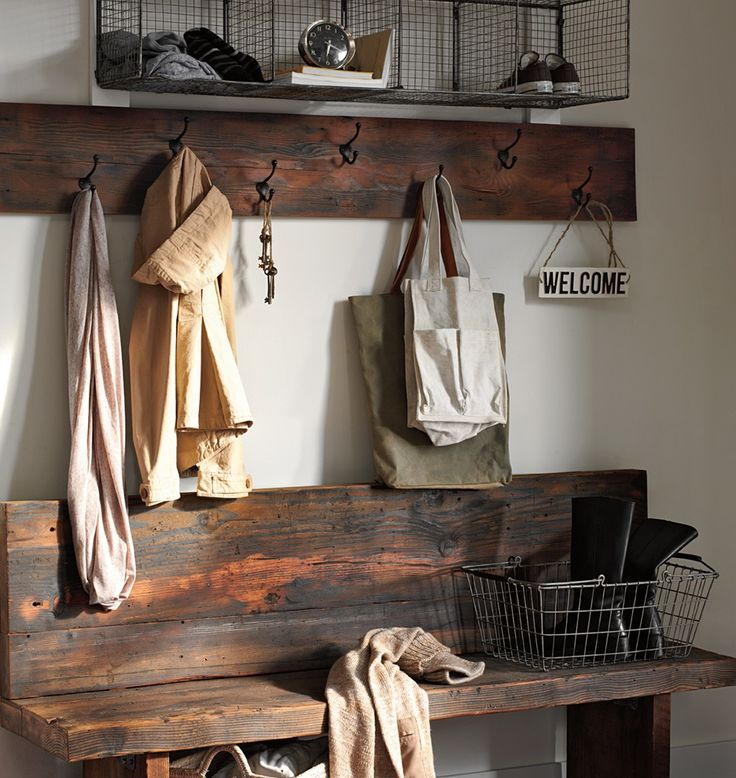 Period-authentic Classic Double Coat Hooks help keep a mud room neat.