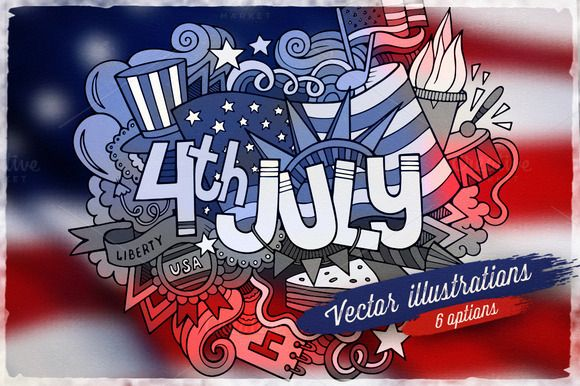 4th July Vector Illustrations by balabolka on Creative Market