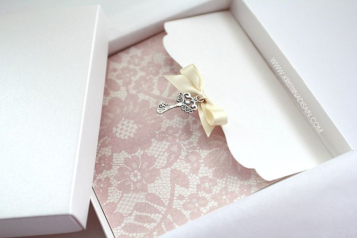 key to my heart - wedding invitation with lace paper and bow
