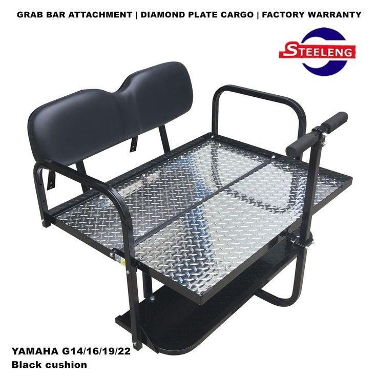 Rear Flip seat kit for YAMAHA golf cart G14/G16/G19/G22 (Black) w/t Grab Bar #STEELENG
