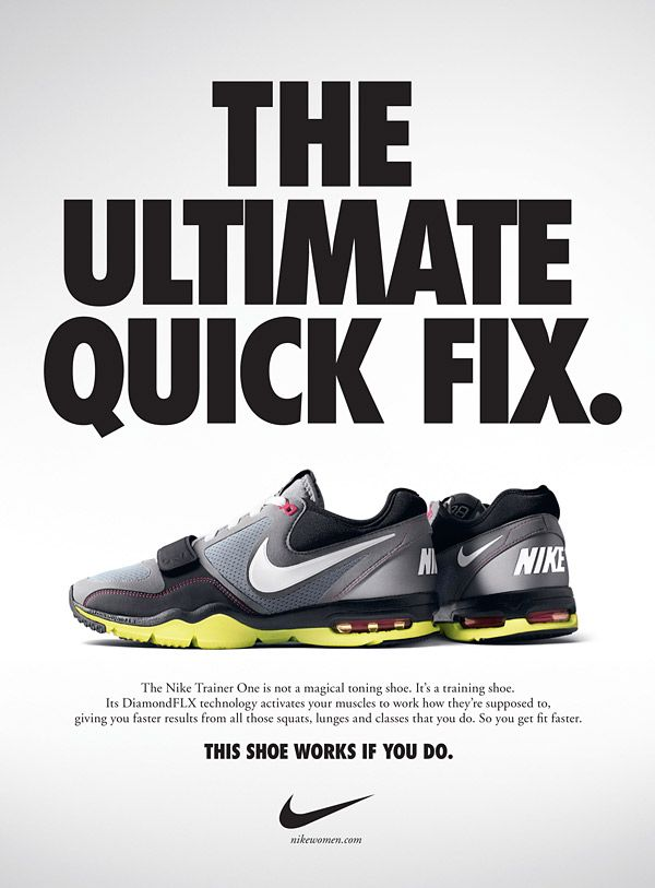 This ad by Nike shows the advertising element of Headline. The typography  of the headline \