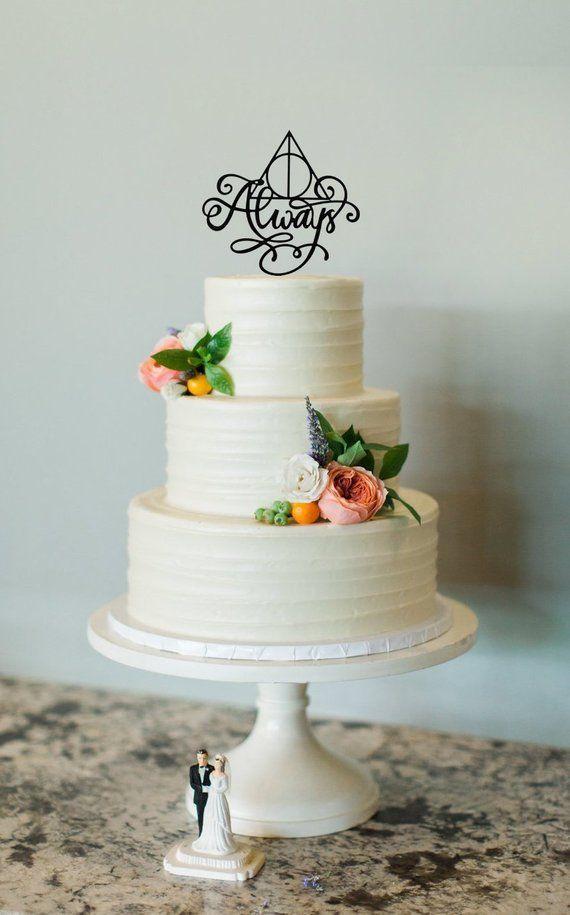 Harry Potter Always Cake Topper Inspired Wedding Cake Topper Always Cake Sign Hallows Harry Potter Inspired Wedding Cake Topper Rose Gold