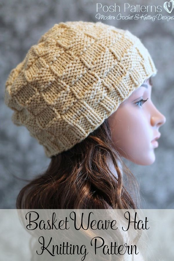 Knitting Pattern - An elegant knit hat pattern that features a timeless basket weave or checker board stitch design. Perfect for babies, kids, women, and men. By Posh Patterns.
