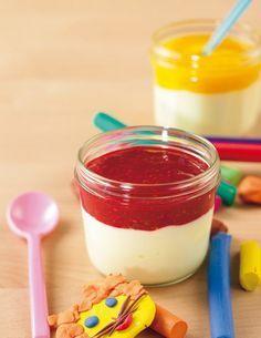 1. TK-Himbeeren auftauen lassen, fein pürieren und mit Honig süßen. Vanillequark glatt rühren und in ein Twist-off-Glas (150 ml Inhalt) gebe...