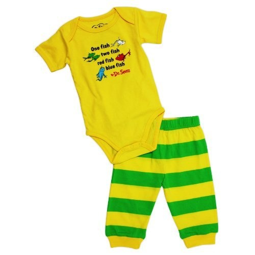 Dr Seuss Short Sleeve Bodysuit and Pants Yellow Fish 6