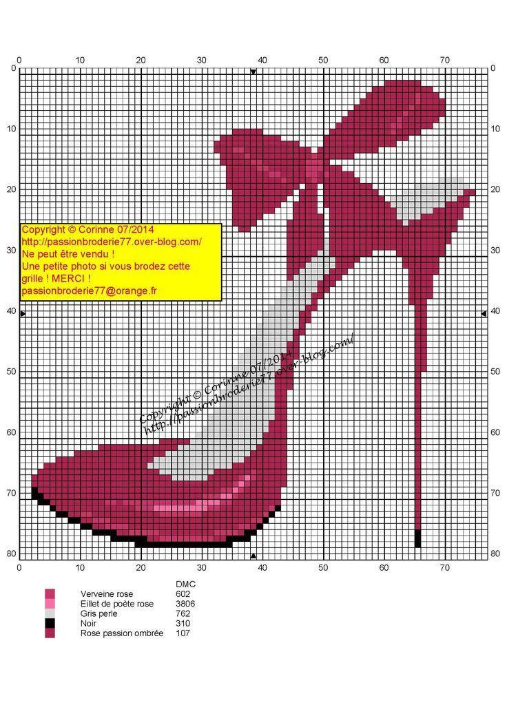 Cross stitch *♥* Chaussure talon rose