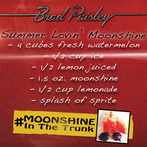 "We're toasting the August 25 release of Brad Paisley's new album, Moonshine in the Trunk, this week with tasty moonshine cocktail recipes!   Pre-order Brad Paisley's new album, Moonshine in the Trunk—including the smash first single ""River Bank""—here: http://smarturl.it/moonshineinthetrunk"