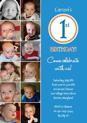 Cute first birthday idea! Use pictures on the invite to show how big he has gotten over the last year!