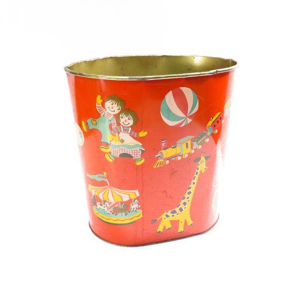 Pépinière Childs chambre métal Trash Can Vintage Lithographie jouets Motif Train Cowboy Raggedy Ann girafe Clown enfants crèche corbeille
