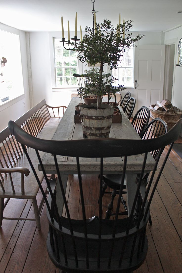 Elegant Want For The Dining Room   Bench/chairs/primitive Table And Fixture ::  Connecticut Country House Images