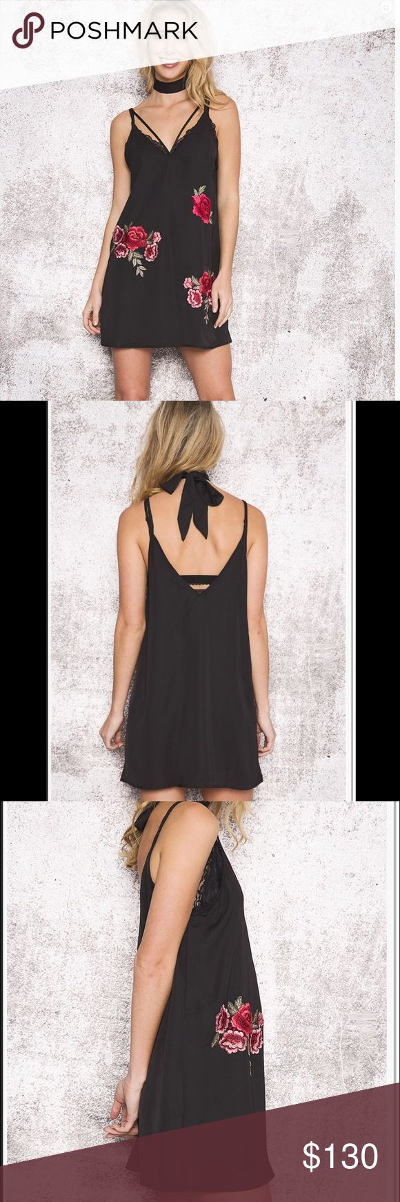 Rosalie black embroidered rose silky choker dress Brand new with tags, from an Australian boutique. Tagged for exposure For Love and Lemons Dresses Mini