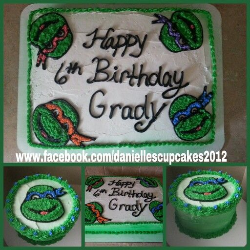 Ninja Turtle marble sheet cake and mini cake with milk ...