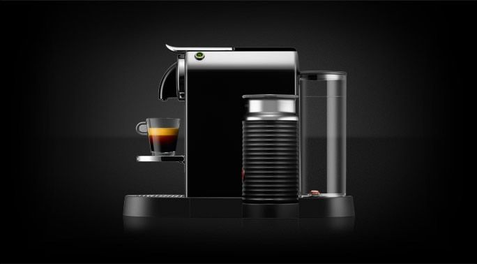 The Nespresso Citiz in Black is a perfect addition to your coffee experience with its modern, compact design and integrated Milk Frother.