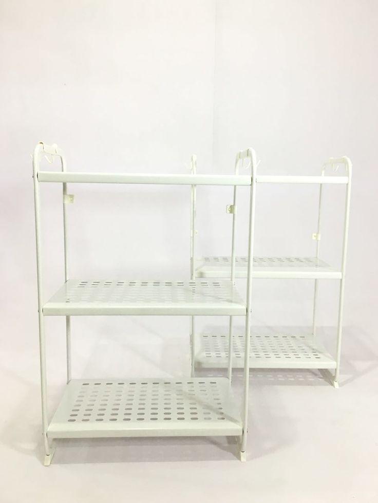 "PYF-0485--White Metal Kitchen Rack 3 shelf (h36""Xw23""Xd13"")2pics"