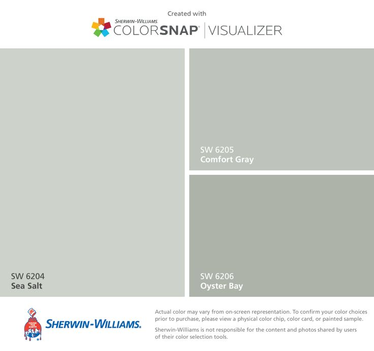 I found these colors with ColorSnap® Visualizer for iPhone by Sherwin-Williams: Sea Salt (SW 6204), Comfort Gray (SW 6205), Oyster Bay (SW 6206).