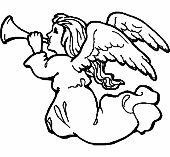 Üvegfestés sablon  : Trombitáló angyal/Angyal, Vallás