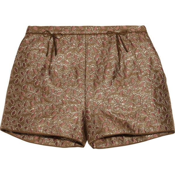 RED Valentino Metallic brocade shorts (450 BRL) ❤ liked on Polyvore featuring shorts, bottoms, pants, short, bronze, metallic shorts, brocade shorts, loose shorts, bow shorts and mid rise shorts