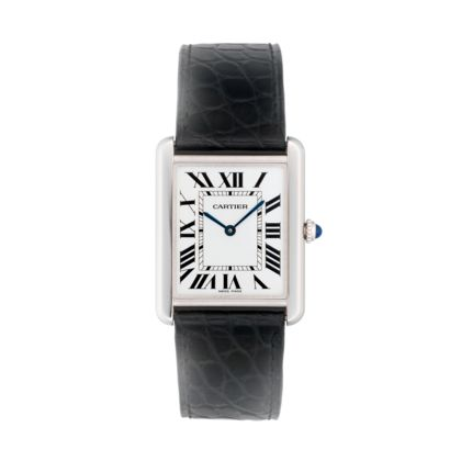 Cartier Tank Solo, maybe mine one day!  The 1st Tank wristwatch was created in 1917 and was inspired by a simple idea: four lines, with two parallel shafts made from gold or platinum, a sapphire cabochon atop the winding crown and a leather strap. With its infinitely refined and timeless design, this revolutionary square watch took shape and forever changed the world of watchmaking. Yet the story of the Tank has only just begun.
