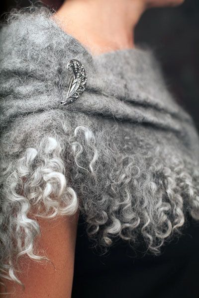 Felted Grey Wool Wrap Cape – Hand-felted using a traditional wet felting technique from fine Gotland wool and fleece. This elegant wrap can add originality to you outfit. Casual enough to be worn every day yet formal enough for any special occasion.    You could make perfect unique set with https://www.etsy.com/listing/105222340/one-of-a-kind-felted-grey-bag    Material: Gotland wool and fleece  Size: 6-8 (US); Approximate shoulder size: 36-38 (For putting on over you...