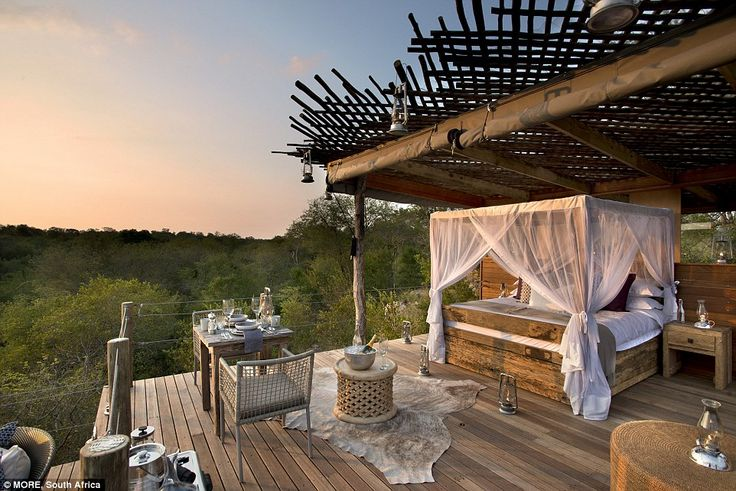 While the tree houses are almost entirely open air, all guests are connected to hotel staf...