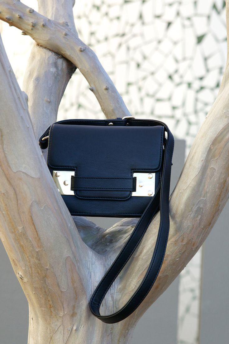 Black cross-body bag from Witchery fashion.