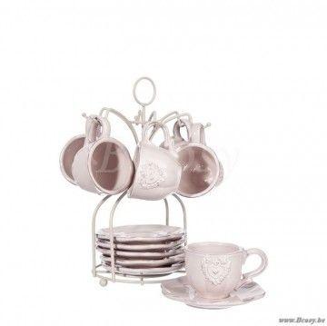 """J-Line Set van 6 kopjes met schotel hart keramiek roze h25 <span style=""""font-size: 0.01pt;"""">Jline-by-Jolipa-51823-tas-en-ondertas-tas-met-ondertas-tasse-avec-sous-tasse-tasses-de-cafe-avec-souc</span>"""