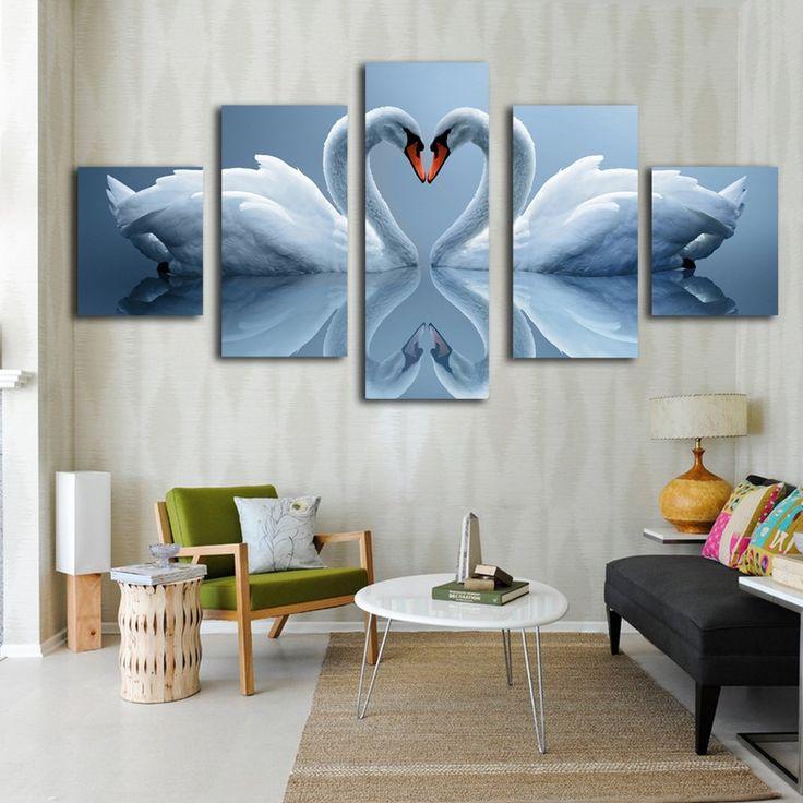 White Swan Inverted image modern canvas prints 5 sets
