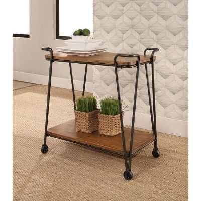 Laredo Industrial Wood and Iron 2 Tier Rolling Cart - Natural - Abbyson