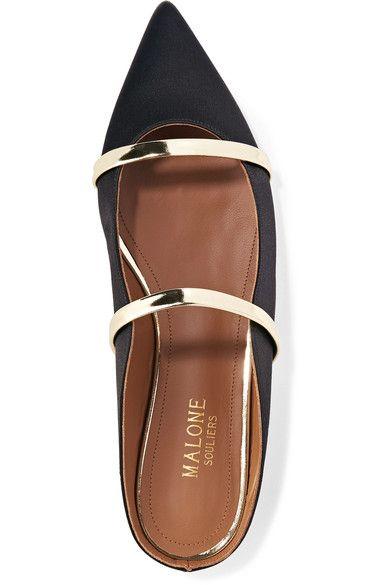 Malone Souliers | Maureen metallic leather-trimmed satin point-toe flats | NET-A-PORTER.COM