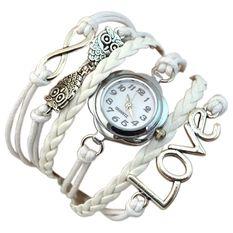 Bluelans Women's Infinity Love Owl Knit Faux Leather Quartz Bracelet Watch White (Intl)